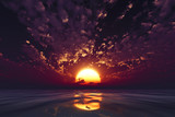 dramatic violet sunset