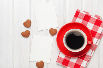 Valentines day blank photo frames, coffee cup and heart shaped c