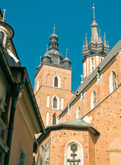 The cloth halls and the church of our lady in Krakow