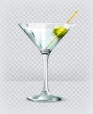 Martini cocktail, vector icon poster