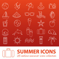 summer outline icons