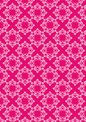 Crimson  background with white floral pattern