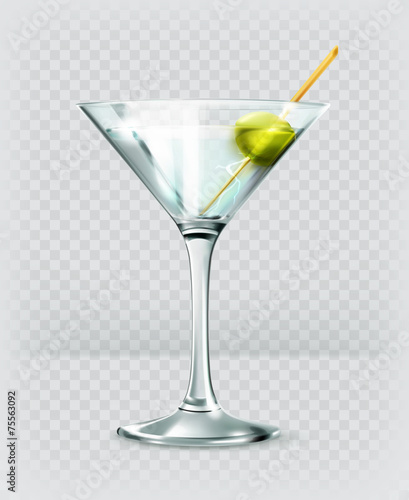Martini cocktail, vector icon - 75563092