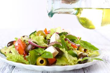 Greek salad dressing with olive oil