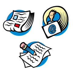 Icons and symbols illustration of information and communication