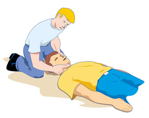 First aid, aid to an unconscious person checking breathing