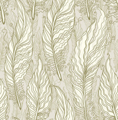Seamless pattern of beautiful feathers.