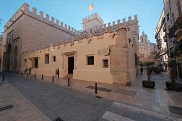 Facade from Silk Exchange Building, Valencia. Spain
