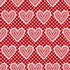 Lace seamless pattern with hearts. Vector illustration.