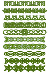 Green celtic knots ornaments and patterns