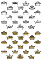 Antique heraldic crown icons