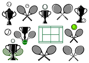 Tennis tournament icons and elements