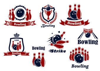 Bowling sports emblems and icons