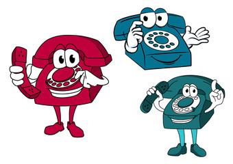 Cartoon dial telephone characters
