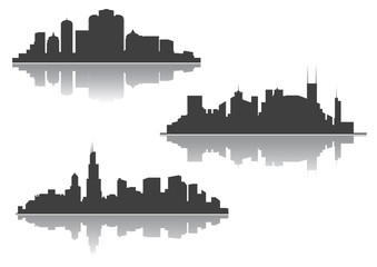 Silhouettes of downtown cityscape
