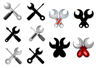 Spanner and screwdriver tools icons