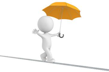 The Dude walking on a rope holding orange umbrella. Isolated.