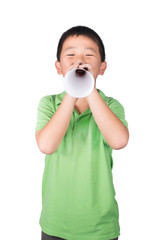 ฺBoy with paper megaphone isolated, rights of a child