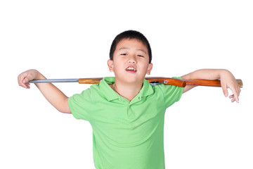 Boy and toy gun rifle isolated on the white background