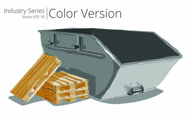 Vector illustration set of Skip and Pallets, Color Series.