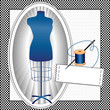 Tailor's Model, sewing needle, thread, label, copy space, frame