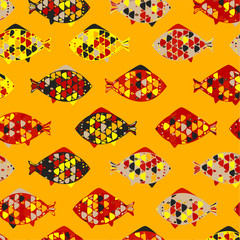 Abstract texture with fishes. Vector