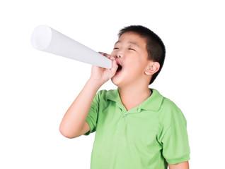 ฺBoy with paper megaphone isolated, rights of a child