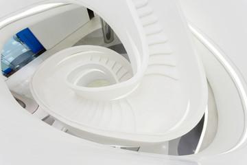 futuristc staircase in modern office building interior