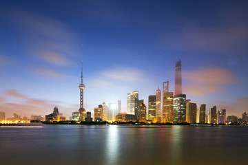 skyline and landscape of modern city,shanghai.View from riverban