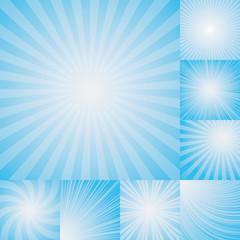 collection of light blue color burst background.