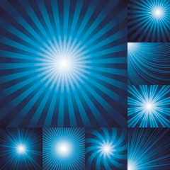 collection of color dark blue burst background.