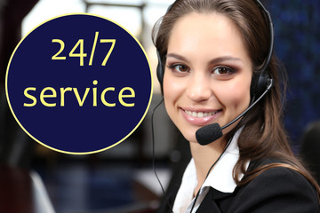 Call center operator and 24/7 service text in cloud