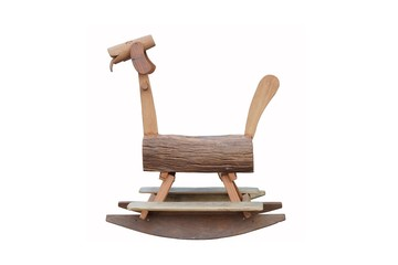 teak wooden horse for kids to ride isolated