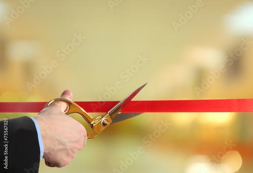 Leinwanddruck Bild Grand opening, cutting red ribbon