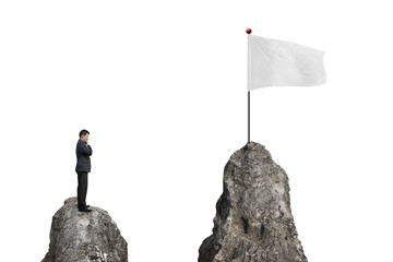Businessman standing on peak with blank flag and white