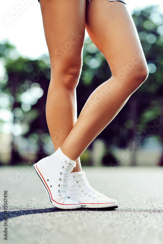 canvas print picture Legs in sneakers
