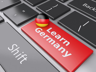 3d Learn Germany on computer keyboard. Education concept