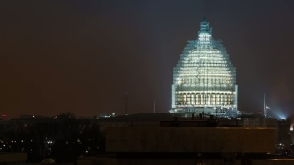 Time lapse of the US Capitol building under renovation