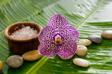 Set of purple orchid and stones with salt in bowl
