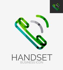 Minimal line design logo, phone handset icon
