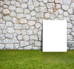 Blank Poster with brick wall and green lawn
