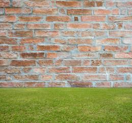 Brick wall and green lawn