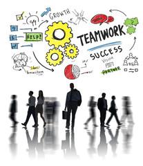 Teamwork Team Together Collaboration Business Commuter Concept