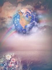 Magic landscape with rainbow