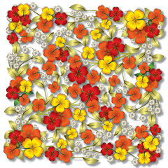 abstract red floral ornament on white