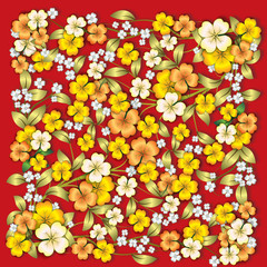 abstract yellow floral ornament with shadows on red