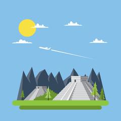 Flat design of Chichen Itza Mexico