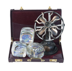 Briefcase with Ice Cubes and Fan