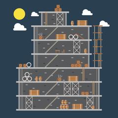 Flat design of construction site