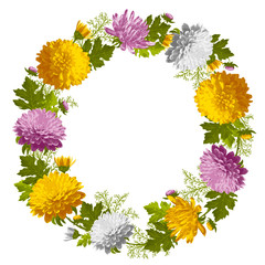 Wreath from chrysanthemum